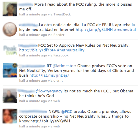 Minutes after the announcement of the new net neutrality Order, Twitter users react. See the reactions live on Twitter.
